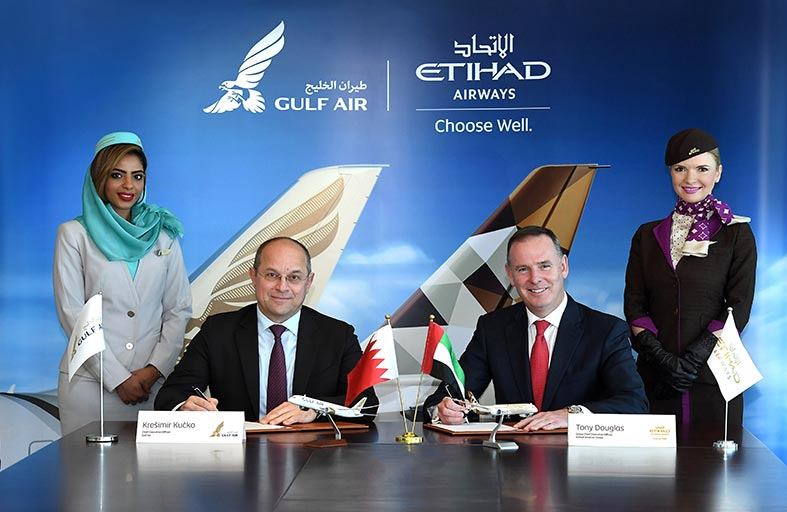 «الاتحاد للطيران» و«طيران الخليج» توقعان اتفاقية شراكة بالرمز لتعزيز التعاون بينهما