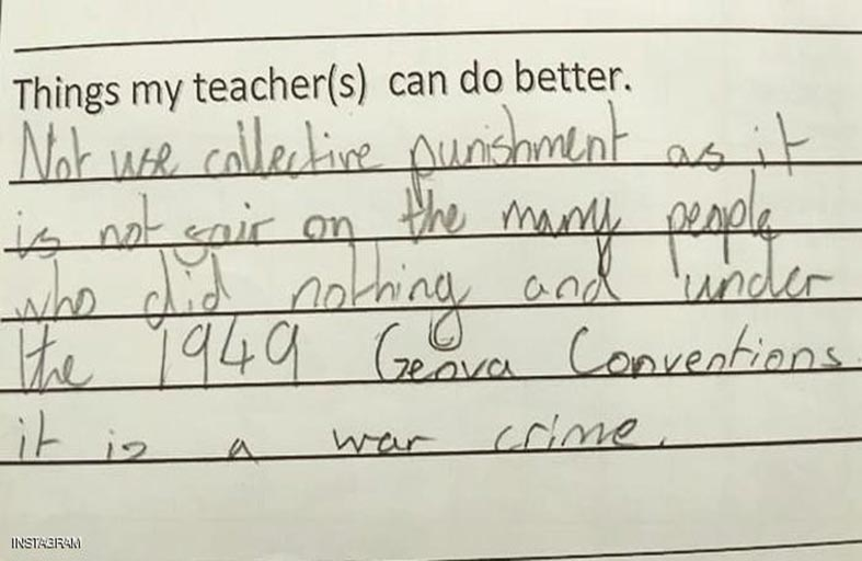 طفلة تتهم معلمتها بـجريمة حرب