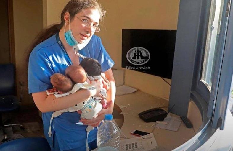 ممرضة بيروت.. لقطة الرضع تحبس الأنفاس