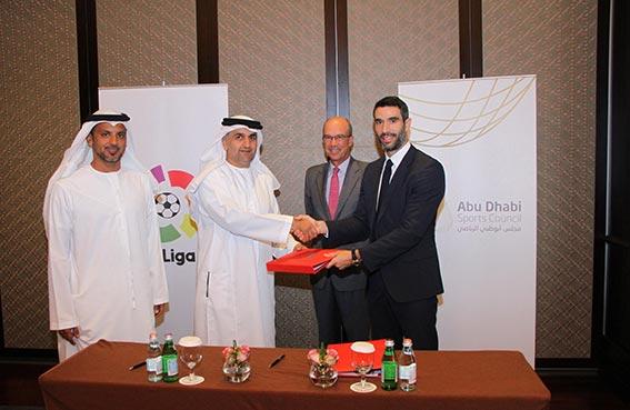 مجلس أبوظبي الرياضي يوقع اتفاقية شراكة عالمية مع رابطة الدوري الاسباني لكرة القدم