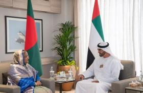 محمد بن زايد يلتقي رئيسة وزراء بنغلاديش على هامش معرض دبي الدولي للطيران