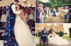 عريس مصاب بالشلل يقف في زفافه