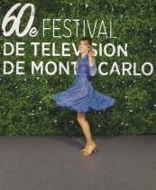 الممثلة الفرنسية ليا فرانسوا في صورة من برنامج تلفزيوني Plus belle la vie كجزء من مهرجان مونتي كارلو التلفزيوني الستين. ا ف ب