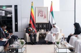 محمد بن زايد يبحث مع رئيس زيمبابوي العلاقات الثنائية والتطورات الإقليمية والدولية