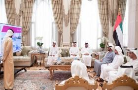 حمدان بن زايد يستقبل فريق المرصاد التابع للقيادة العامة لشرطة أبوظبي