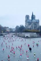 عدد كبير من المشاركين في النسخة الثامنة من منافسة التجديف بالقرب من كاتدرائية نوتردام على نهر السين في باريس. (رويترز)