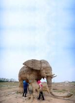 المزارعون يبنون نحتاً من القش على هيئة فيل في مقاطعة هونان في شنيانغ الصينية. (رويترز)