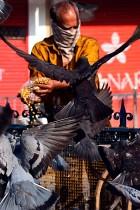 رجل يرتدي قناع وجه يطعم الحمام أثناء الإغلاق الذي تفرضه الحكومة الهندية كإجراء وقائي ضد انتشار فيروس كورونا.  ا ف ب